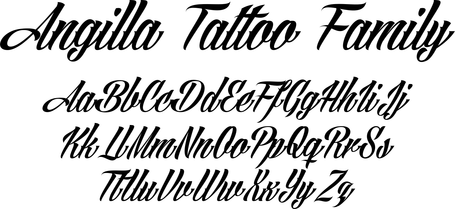angilla tattoo font family by m ns greb ck font bros. Black Bedroom Furniture Sets. Home Design Ideas