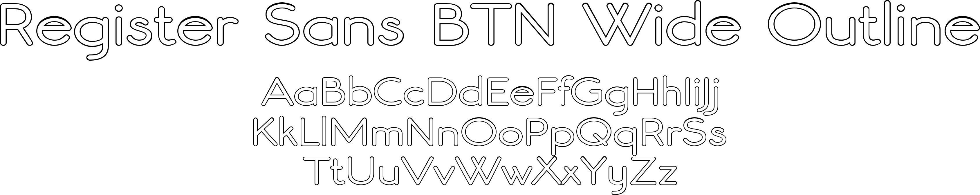 Register Sans BTN Wide Outline